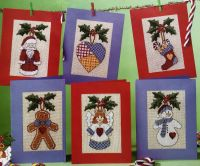 Quaker Style Rustic Christmas Cards ~ Six cross Stitch Charts