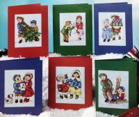 Victorian Children in the Snow Christmas Cards ~ Six cross Stitch Chartd