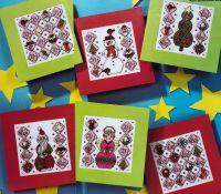Joy & Noel Christmas Cards ~ Six cross Stitch Charts