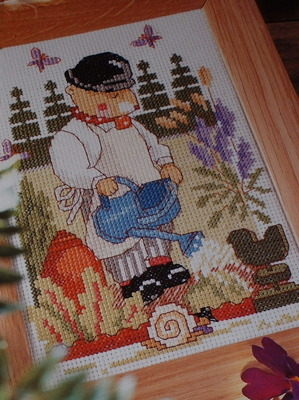 Fred Mouse Gardener in Spring Garden ~ Cross Stitch Chart
