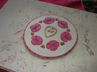 Ruby 40 Years Wedding Card / Trinket Pot Lid ~ Embroidery Pattern