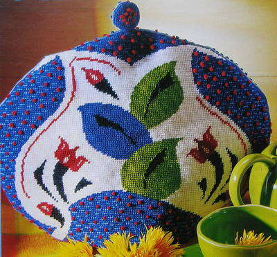Bright Floral Tea Cosy ~ Needlepoint Pattern