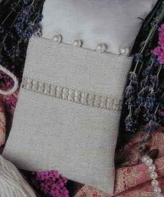 Silk & Linen Lavender Sachet ~ Drawn Thread Work Embroidery Pattern