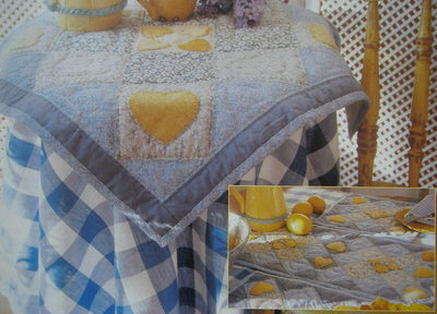 Lemon Hearts Quilted Tablecloth & Mats ~ Patchwork & Quilting Pattern