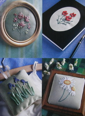 4 Ribbon Embroidery Flowers Cards Sachets Gifts ~ Embroidery Patterns