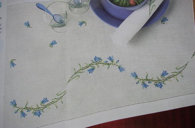 Bellflower Table Runner & Napkins ~ Cross stitch Charts