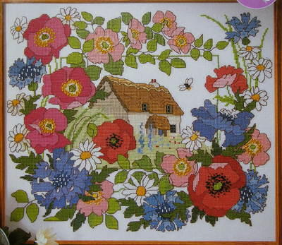 Summer Cottage with Floral Border ~ Cross Stitch Chart