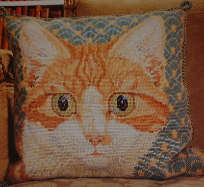 Ginger Cat Cushion ~ Needlepoint Pattern