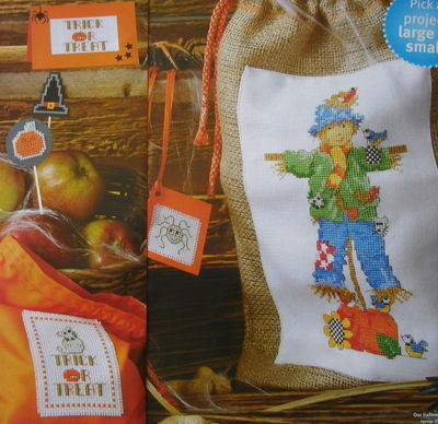 Trick or Treat Halloween Cards Pumpkin Scarecrow ~ Cross Stitch Charts