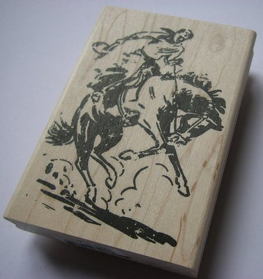Tim Holtz ~ Cowboy: Woodblock Red Rubber Stamp *NEW*