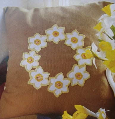 Spring Narcissi Cutwork Cushion ~ Cutwork Applique Pattern