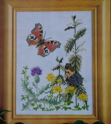 Peacock Butterfly Amongst the Thistles & Nettles ~ Cross Stitch chart