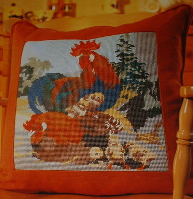 Cockerels and Chicks Cushion ~ Needlepoint Chart