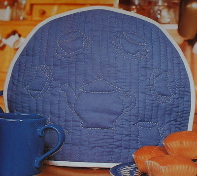 Tea Pot, Tea Cups Quilted Tea Cosy ~ Quilting Stitch Pattern