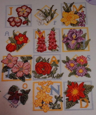 Flowers of the Month Sampler ~ Cross Stitch Chart