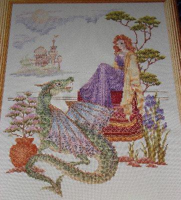 Mystical Scene With Dragon ~ Cross stitch Chart
