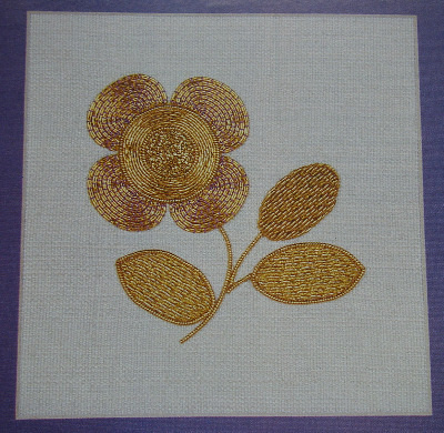 Burden Stitch & Italian Shading Goldwork Flower~ Embroidery Pattern