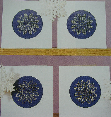 Four Snowflake Christmas Cards/Tags ~ Cross Stitch Charts