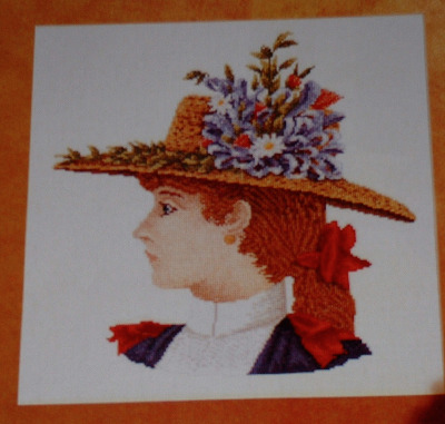 Victorian Girl with Hat ~ Cross Stitch Chart