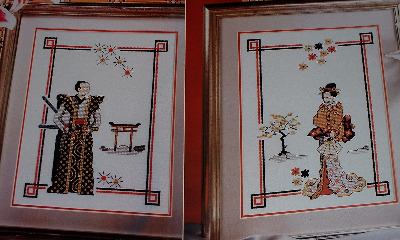 Oriental Lady & Man ~ TWO Cross Stitch Charts