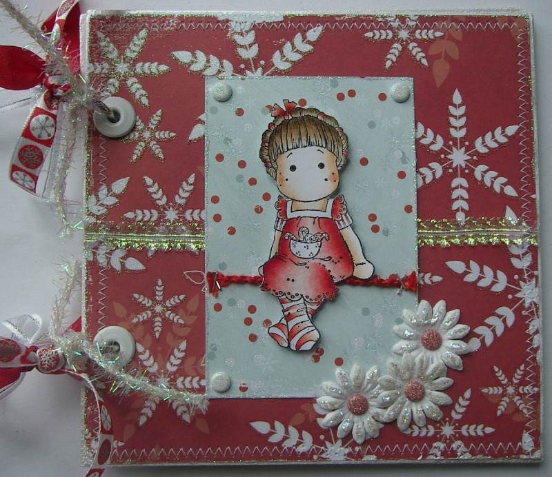 snowflakes & candy cane ooak handmade christmas scrapbook full