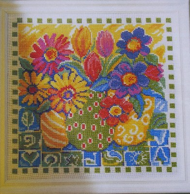 Colourful Summer Bouquets in Vases ~ Cross Stitch Chart