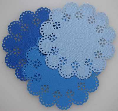3 Die Cut Doilies Flowers Blue 6 inches