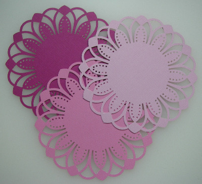 3 Die Cut Doilies Arches Pink 6 inches