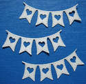3 Die Cut La La Land Heart Banners Snow White Pearl