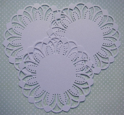 3 Die Cut Doilies Arches Snow White Pearl 6 inches