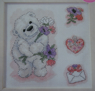 Bubble Polar Bear with Spring Flowers ~ Cross Stitch Chart