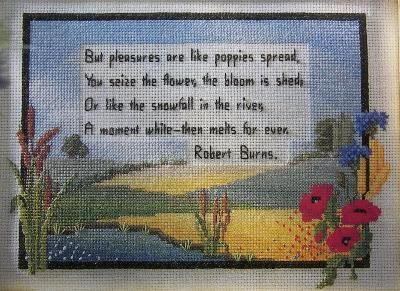 Pleasures Are Like Poppies: Robert Burns ~ Cross Sttich Chart