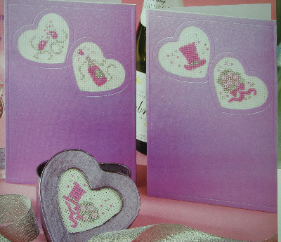 Six Wedding Motifs for Heart Shaped Aperture Cards ~ Cross Stitch Charts