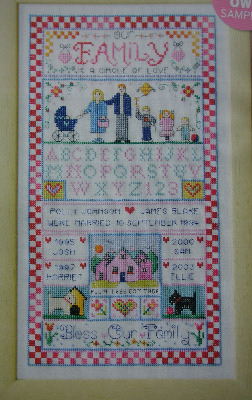 Bless Our Family Sampler ~ Cross Stitch Chart