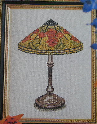 Oriental Poppy Inspired Tiffany Lamp ~ Cross Stitch Chart