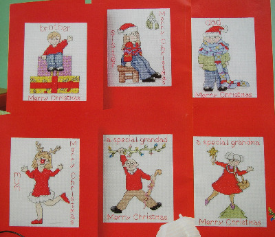 Six Family Christmas Cards ~ Cross Stitch Charts