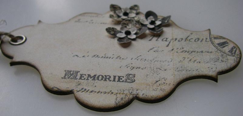 memories handmade vintage tag dimensional