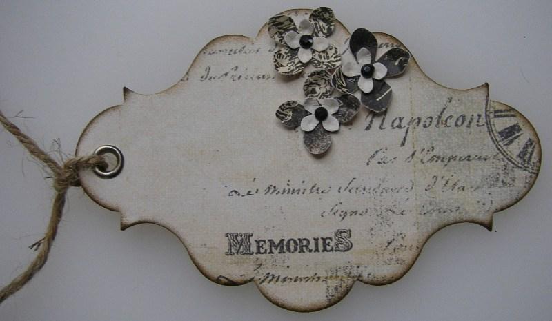 memories handmade vintage tag front
