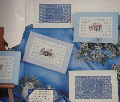 Frosty Buildings ~ Cross Stitch & Blackwork Cards Patterns