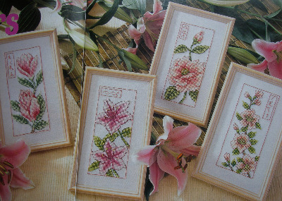 Oriental Japanese Flowers ~ Four Cross Stitch Charts