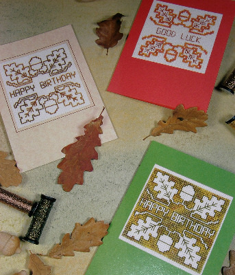Autumnal Greeting Cards ~ Cross Stitch, Blackwork & Assisi Charts