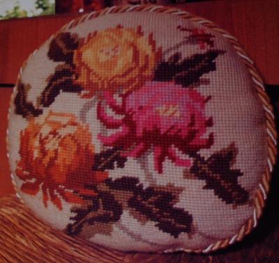 Chrysanthemum Flower Cushion ~ Needlepoint Pattern