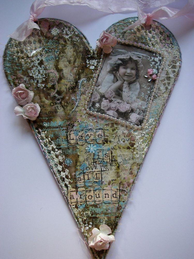 *love is all around* OOAK Handmade Valentine Altered Mixed Media Heart