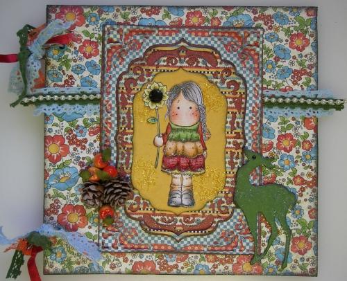 *deer autumn* OOAK Handmade Vintage Scrapbook Photo Memory Album