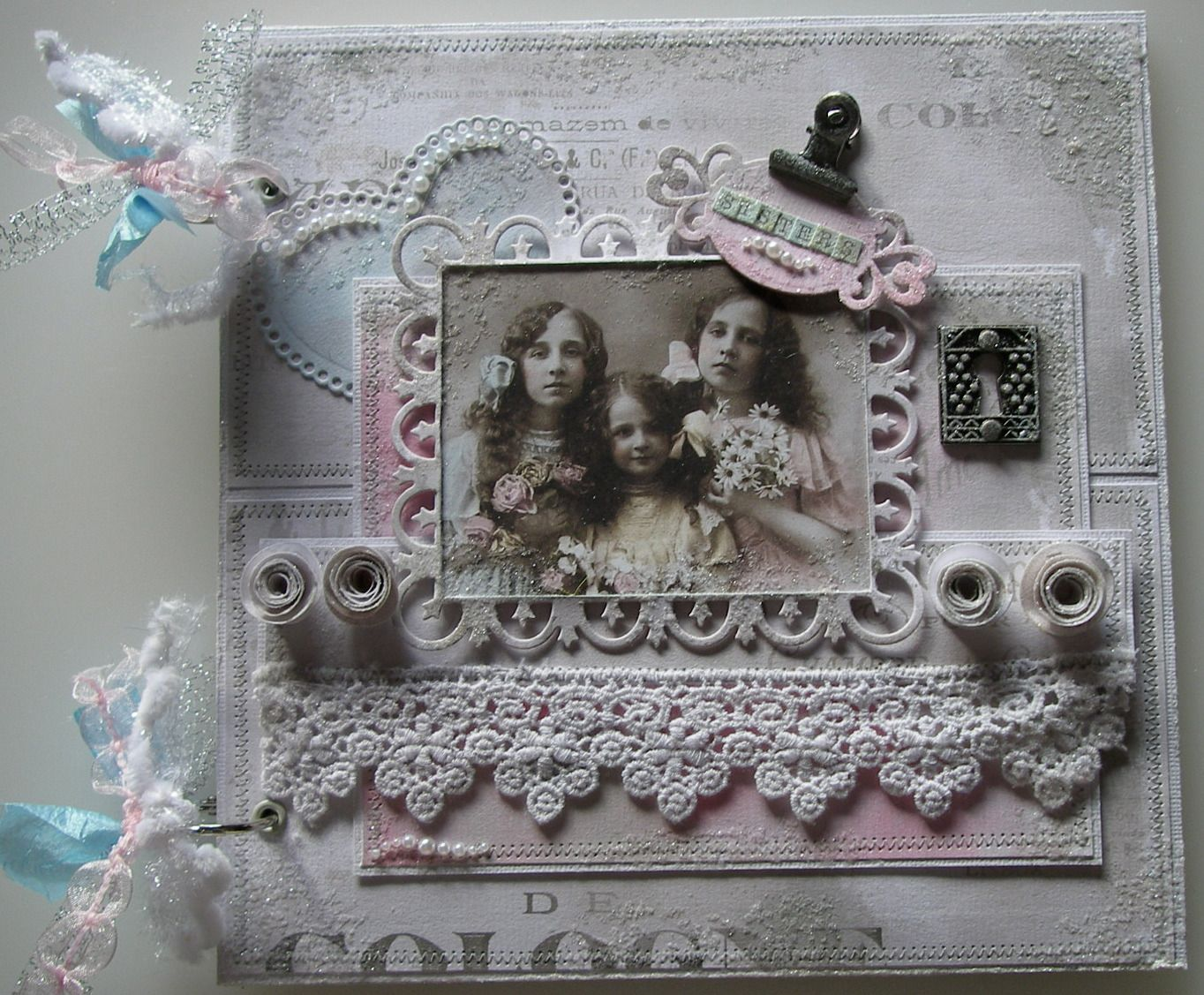 *sisters* OOAK Handmade Vintage Scrapbook Photo Memory Album