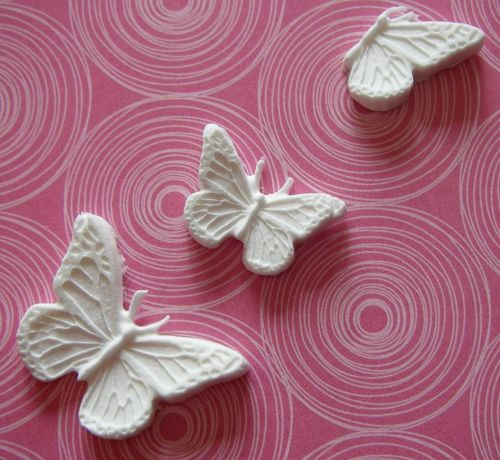 Martha Stewart Decorative Three Butterflies Paper Clay Embellsihments
