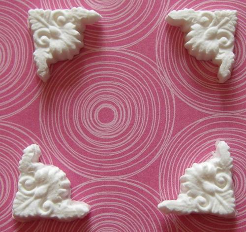 Martha Stewart Four Small Decorative Photo Corners Paper Clay Embellishment