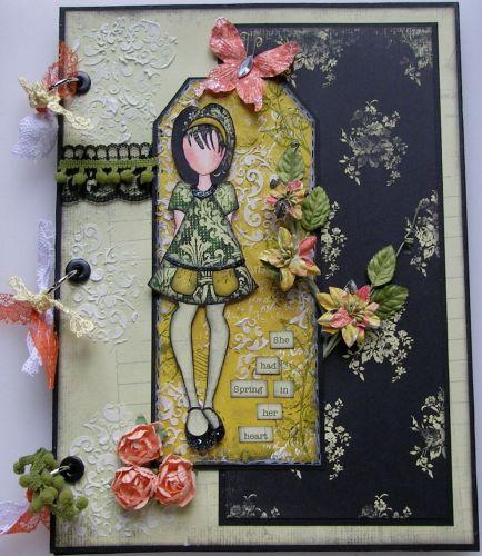 *she had Spring in her heart* OOAK Handmade Scrapbook Photo Memory Album