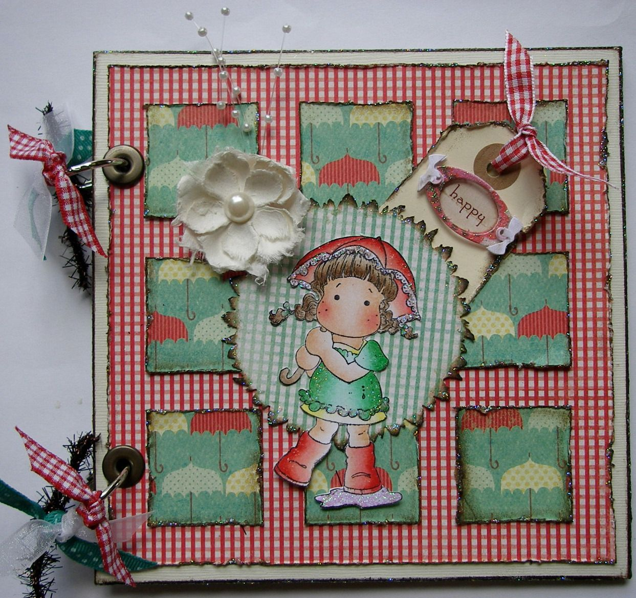 *happy* OOAK Handmade Girl's Scrapbook Photo Memory Album
