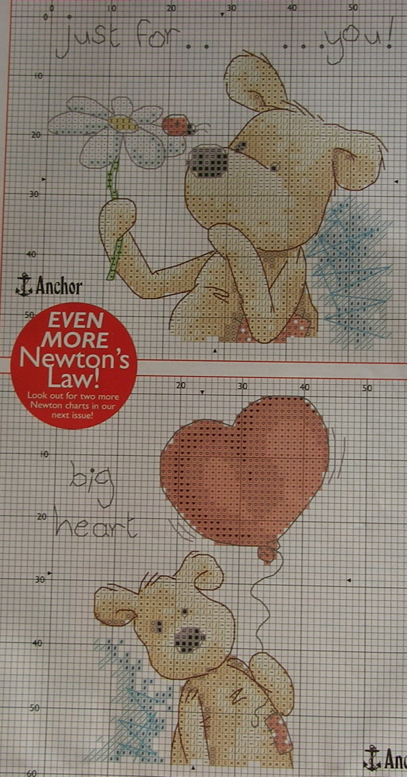 Newton's Law Bear: Just For ... You! and Big heart ~ Two Cross Stitch Chart